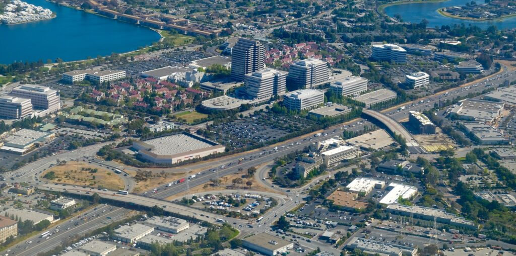 Aerial view of Hi tech Silicon Valley At Bay Area